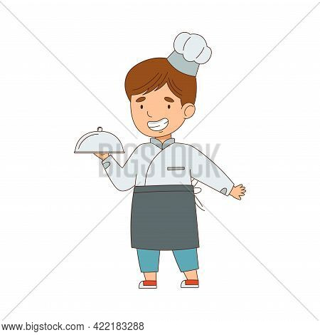 Little Boy Chef In White Toque And Jacket Holding Tray With Served Appetizing Meal Vector Illustrati