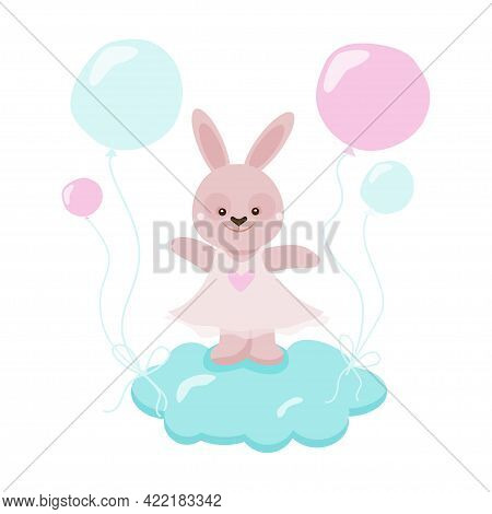 Cute Bunny Girl Flying On A Cloud With Balloons. Childrens Adorable Vector Illustration
