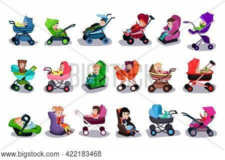Cute Little Toddlers Sitting In Baby Carriage, Carrycot And Car Seat Vector Illustration Set