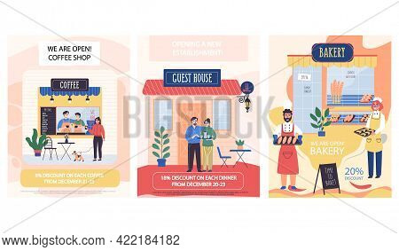 Opening Of Catering Establishments Vector Illustration. Coffee Shop, Guest House And Bakery. Announc