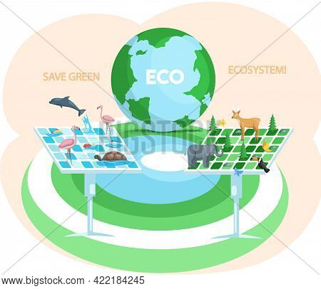 Alternative Sources Of Energy, Solar Panels. Production Of Green Electricity. Creation Of Eco Friend