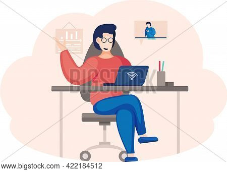 Online Meeting Via Group Call. Woman Talking To Friend In Video Conference Sitting With Laptop At Ta