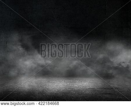 3D render of a grunge room interior with foggy atmosphere