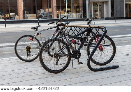 Ottawa, Canada May 23, 2021: Bike Rack For Parking Bicycles In The Street Of Downtown. Bycycle Stand