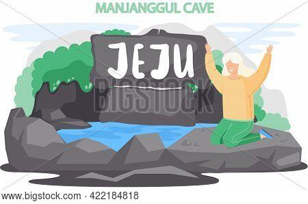 Manjanggul Cave Famous Landmark Of Jeju Island In South Korea. Traveling To Asia By Landmark Grotto