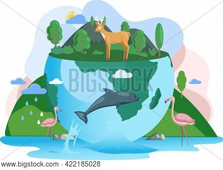 Climate And Weather Change Of Planet. Biodiversity, Conservation And Environmental Protection Concep