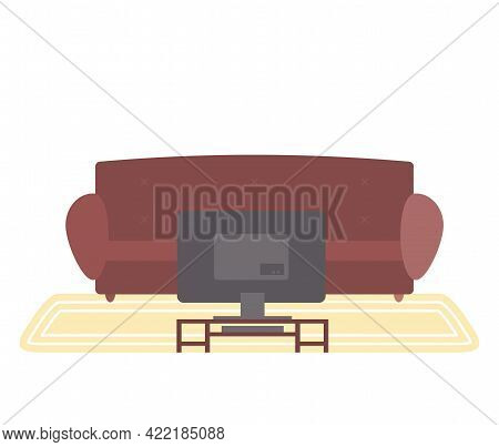 Brown Sofa And Small Table With Televisor. Living Room Furniture Design, Modern Home Interior Elemen
