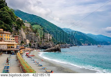 Monterosso Al Mare, Italy - May 28 2018: View Of The Spiagge Di Fegina Beach. Monterosso Is The West