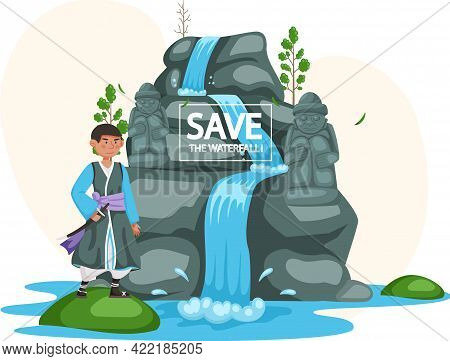 Save Waterfalls, Rock And Falling Water, Tropical River And Waterfall. Asian Man Dressed In National