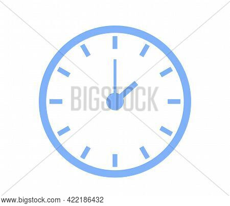 Classic Wall Round Blue Clock Icon Isolated On White Background Vector Illustration. Business Style