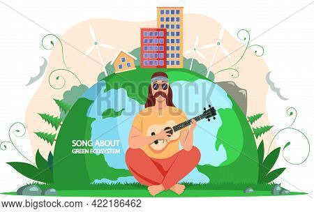 Man Spends Free Time Outdoor. Male Bard Plays Guitar On Background Of Planet. Guy Singing Songs Abou