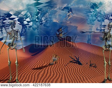 Ship travels to desolate wonderland. Surreal desert with chessboard , skeletons, and hourglass. 3D rendering
