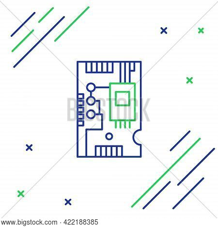 Line Electronic Computer Components Motherboard Digital Chip Integrated Science Icon Isolated On Whi