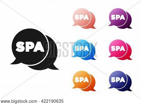 Black Spa Salon Icon Isolated On White Background. Concept For Beauty Salon, Massage, Cosmetic. Spa