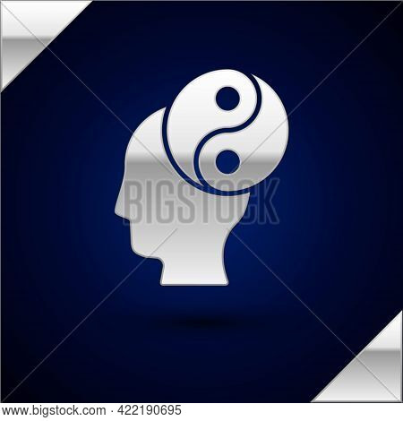 Silver Yin Yang Symbol Of Harmony And Balance Icon Isolated On Dark Blue Background. Vector