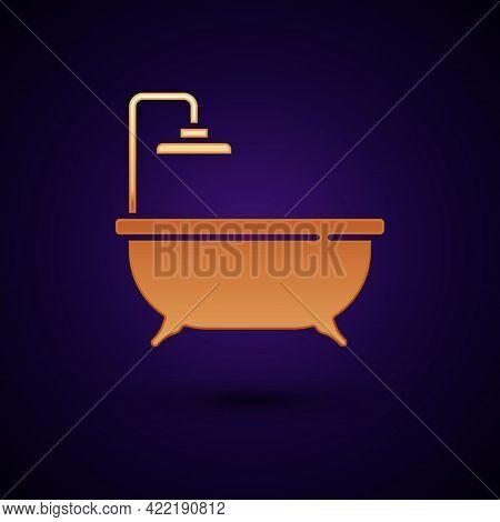 Gold Bathtub Icon Isolated On Black Background. Vector