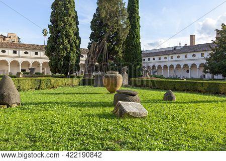 Rome, Italy - October 10, 2020: 16th-century Garden, Cloister Of Michelangelo At 3rd Century Baths O