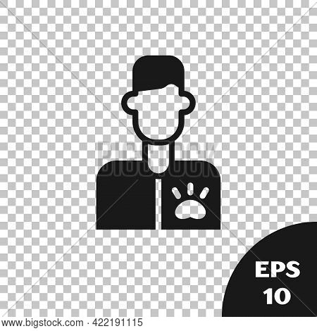 Black Veterinarian Doctor Icon Isolated On Transparent Background. Vector
