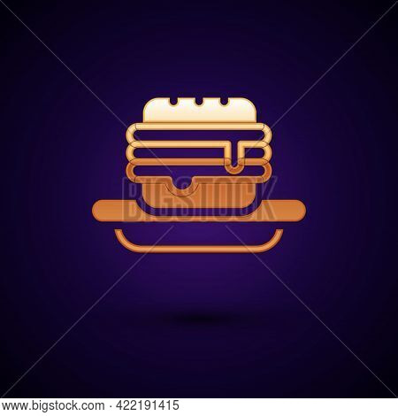 Gold Junk Food Icon Isolated On Black Background. Prohibited Hot Dog. No Fast Food Sign. Vector