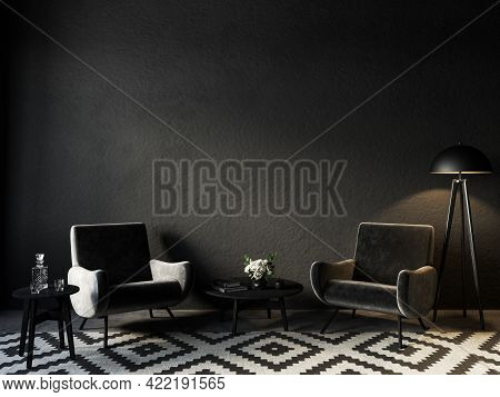 Black Interior With Velour Armchairs, Carpet And Decor. 3d Render Illustration Mockup.