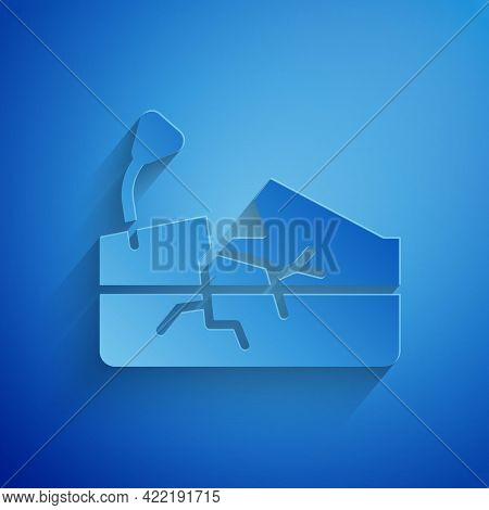 Paper Cut Earthquake Icon Isolated On Blue Background. Paper Art Style. Vector
