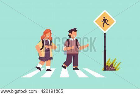 Schoolchildren Crossing Road On Crosswalk With Signboard Road Safety Concept Horizontal