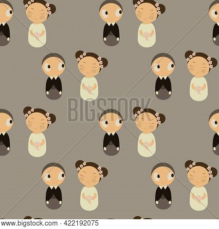 Vector Seamless Pattern With Cute Kokeshi Doll. Japanis. Oiental Martial Arts. Wedding...bride And G