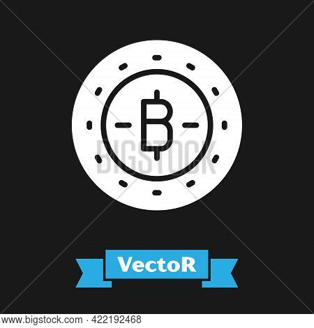 White Cryptocurrency Coin Bitcoin Icon Isolated On Black Background. Physical Bit Coin. Blockchain B