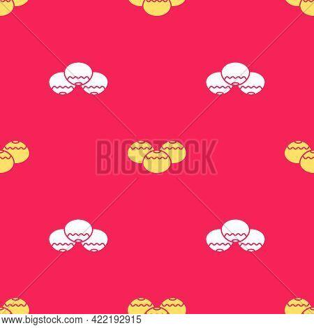 Yellow Jewish Sweet Bakery Icon Isolated Seamless Pattern On Red Background. Hanukkah Sufganiyot. Je