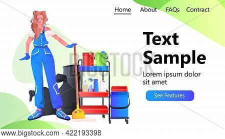 Professional Cleaner Female Janitor In Uniform With Equipment Cleaning Service Concept Horizontal