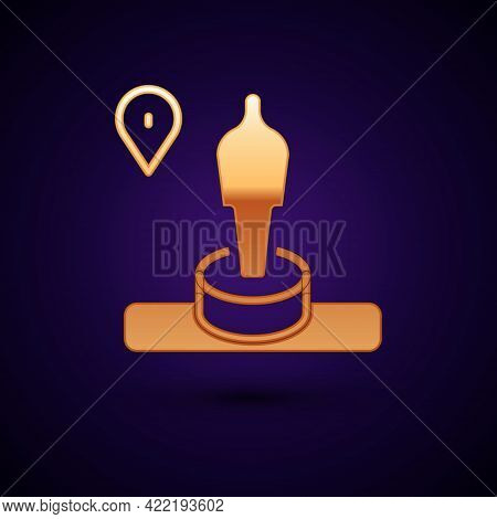 Gold Map Pin And Monument Icon Isolated On Black Background. Navigation, Pointer, Location, Map, Gps