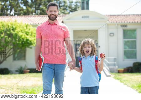 Father And Son Go To School, Education And Learning. School And Family Education.