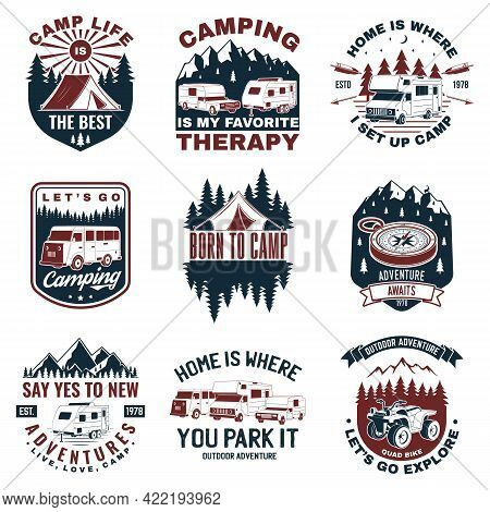 Set Of Camping Badges. Vector. Concept For Shirt Or Logo, Print, Stamp Or Tee. Vintage Typography De