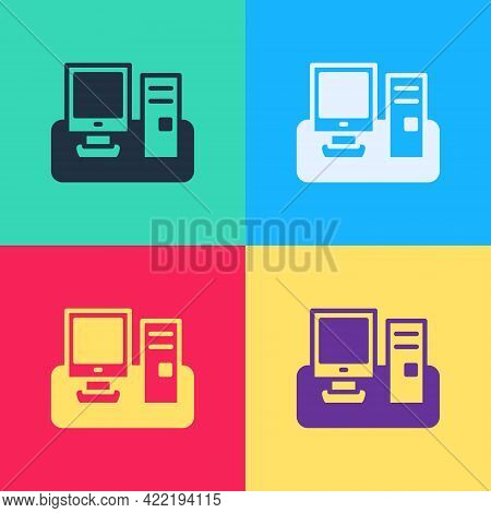 Pop Art Computer Monitor With Keyboard And Mouse Icon Isolated On Color Background. Pc Component Sig