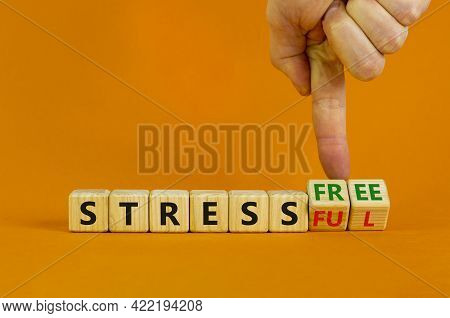 Reduce Stress Symbol. Businessman Turns Cubes, Changes Words 'stress' To 'reduce Stress'. Beautiful