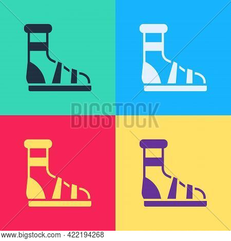 Pop Art Slippers With Socks Icon Isolated On Color Background. Beach Slippers Sign. Flip Flops. Vect
