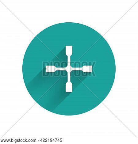 White Wheel Wrench Icon Isolated With Long Shadow. Wheel Brace. Green Circle Button. Vector