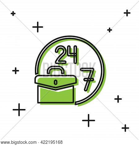 Black Always Busy Icon Isolated On White Background. Vector
