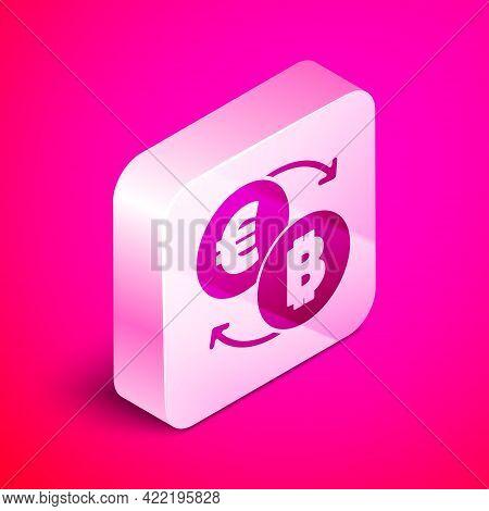 Isometric Cryptocurrency Exchange Icon Isolated On Pink Background. Bitcoin To Euro Exchange Icon. C