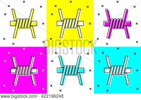 Set Barbed Wire Icon Isolated On Color Background. Vector