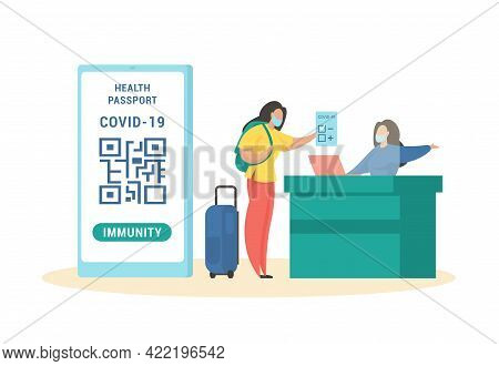 Vaccination Certificate In Immune Passport. Female Character With Luggage Bag Hands Controller Negat