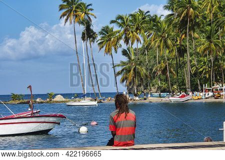 Marigot Bay In St Lucia. Marigot Bay Is Located On The West Coast Of The Caribbean Island Of St Luci