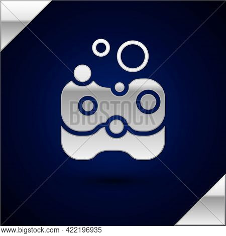 Silver Sponge Icon Isolated On Dark Blue Background. Wisp Of Bast For Washing Dishes. Cleaning Servi