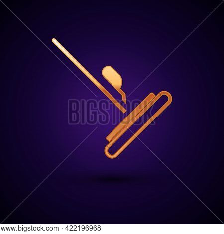 Gold Mop Icon Isolated On Black Background. Cleaning Service Concept. Vector