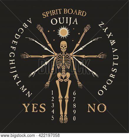 Spirit Board Ouija With Skeletons. Vector Illustration.