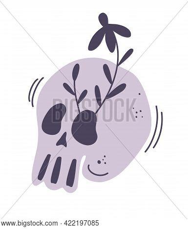 Floral Blooming Skull. Human Skull And Wreath Of Flowers. Illustration For Medicine,print, Tatoo, Ha