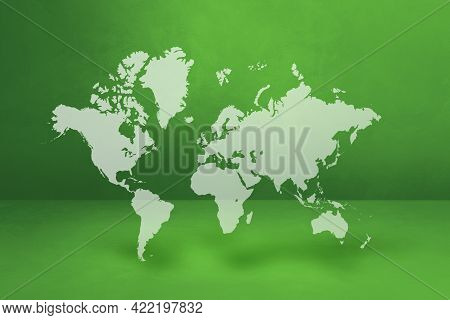 World Map Isolated On Green Wall Background. 3d Illustration