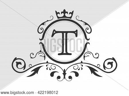 Stylized Letter T Of The Latin Alphabet. Monogram Template With Ornament And Crown For Design Of Ial