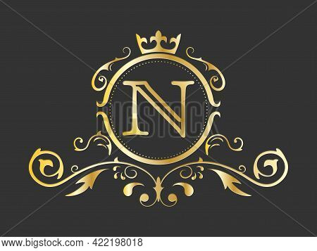 Golden Stylized Letter N Of The Latin Alphabet. Monogram Template With Ornament And Crown For Design