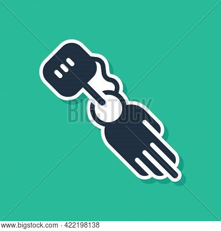 Blue Prosthesis Hand Icon Isolated On Green Background. Futuristic Concept Of Bionic Arm, Robotic Me